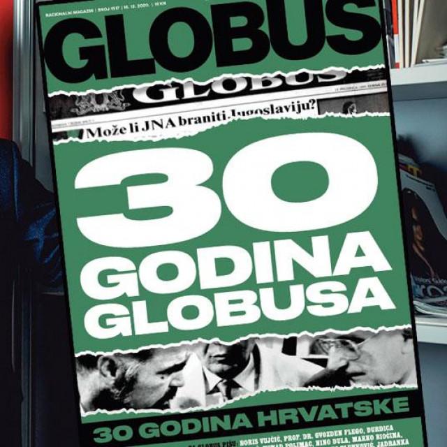 Zdravko Milinović, glavni urednik Globusa i naslovnica jubilarnog izdanja Globusa