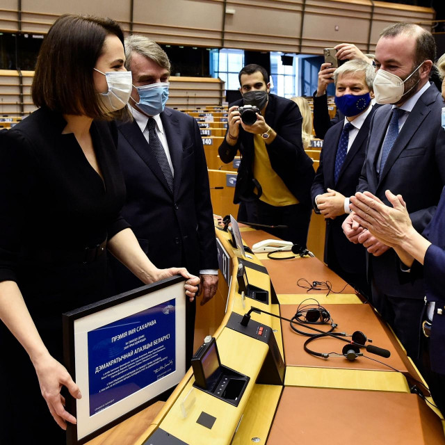 Nagradu je u ime opozicije primila Svetlana Tihanovska