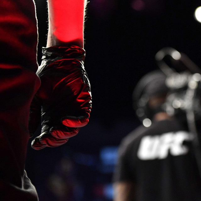 JACKSONVILLE, FLORIDA - MAY 09: A detail view of a judges latex glove during the Heavyweight fight between Greg Hardy of the United States and Yorgan De Castro of Cape Verde during UFC 249 at VyStar Veterans Memorial Arena on May 09, 2020 in Jacksonville, Florida. Douglas P. DeFelice/Getty Images/AFP<br /> == FOR NEWSPAPERS, INTERNET, TELCOS & TELEVISION USE ONLY ==
