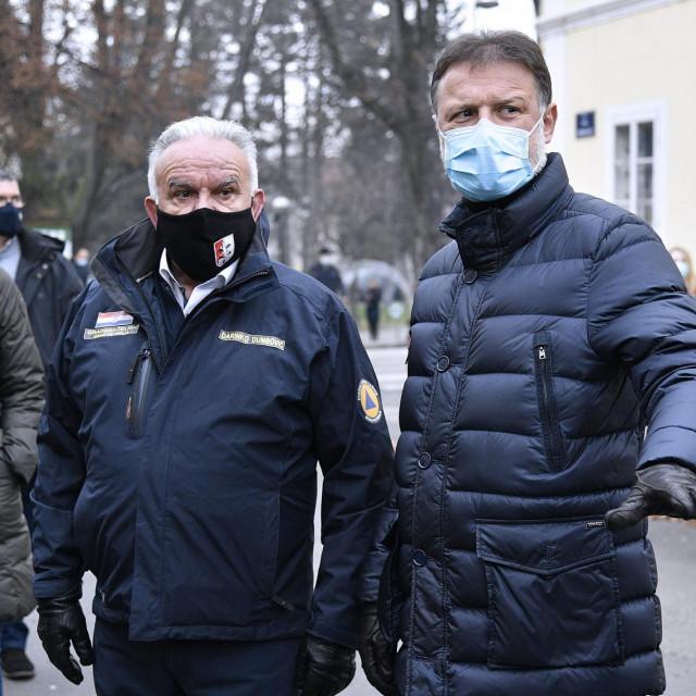 Gradonačelnik Petrinje Darinko Dumbović i predsjednik Sabora Gordan Jandroković