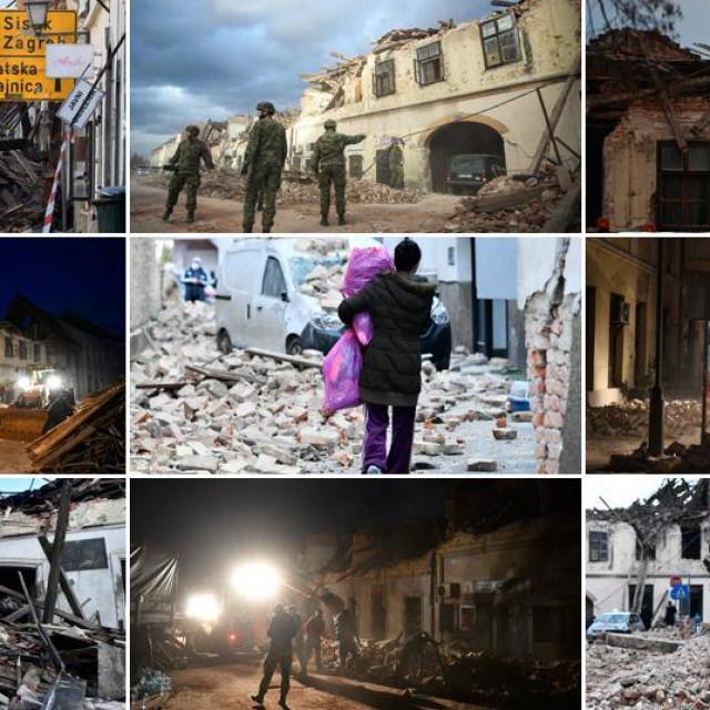 Prizori nakon snažnog potresa koji je pogodio područje Petrinje, Gline i Siska