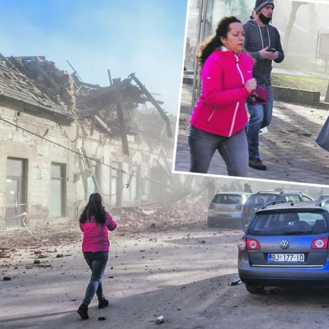 Prizor iz Petrinje nakon potresa i novinarka Tena Šarčević u gornjem desnom kutu