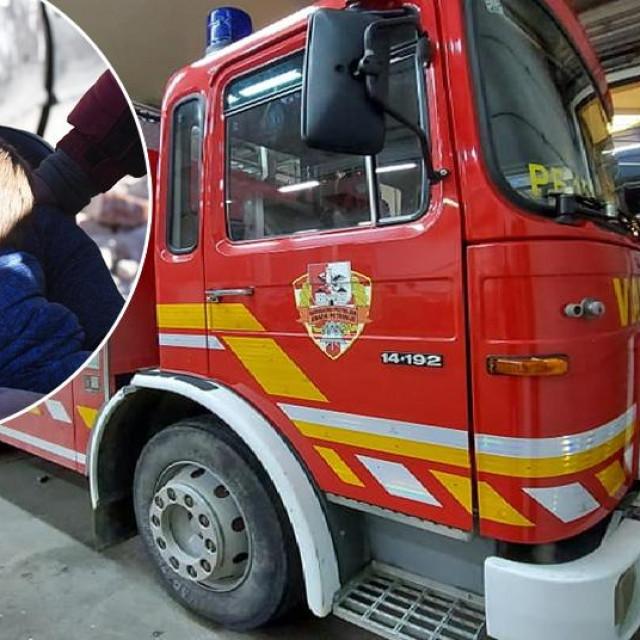 Pokvareno vozilo petrinjskih vatrogasaca; u krugu: Josip i Leon Hodak