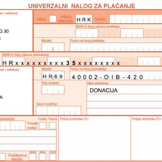 Primjer uplate Hrvatska udruga banaka