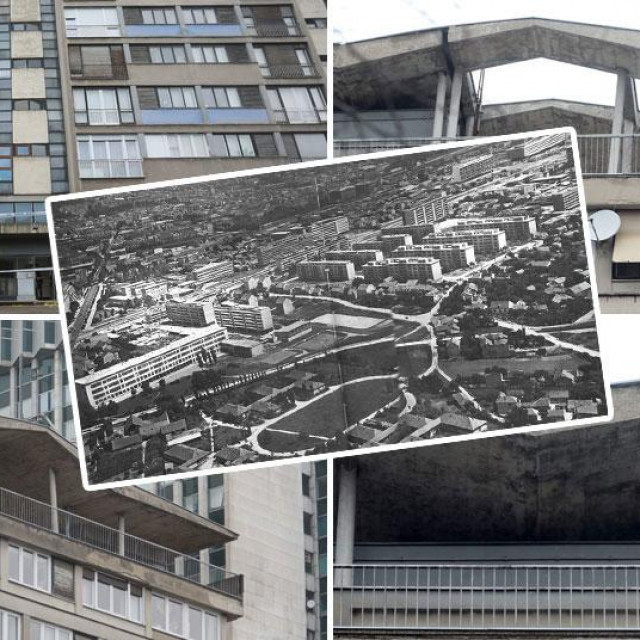 U sredini: Današnja Vukovarska krajem 50–ih godina još bez zgrade arhitekta Stanka Fabrisa. Na ostalim fotografijama: Fabrisova zgrada snimljena prije nekoliko dana