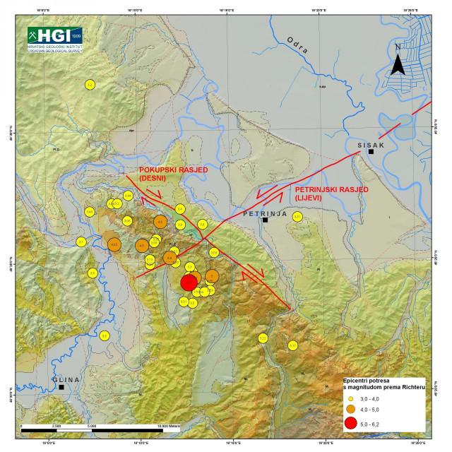 Geološka karta područja Petrinje i Siska s naglašenim glavnim rasjedima iz aktiviranih sustava rasjeda koji su uzrokovali potrese 28. i 29.12.2020.