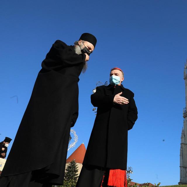 Zagrebački nadbiskup kardinal Josip Bozanić i zagrebačko-ljubljanski mitropolit Porfirije Perić