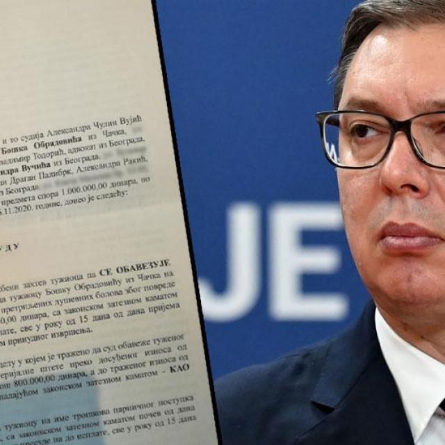 Preslika prve stranice presude (lijevo), Aleksandar Vučić (desno)