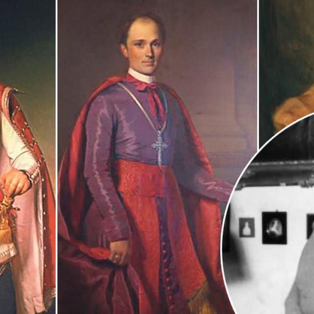 Slavni portret bana Jelačića, portret biskupa Strossmayera, portert barunicu Albertina Adrowski, Zlata Lubienski (u krugu)