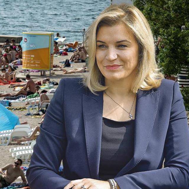 Ilustracija plaže i Nikolina Brnjac
