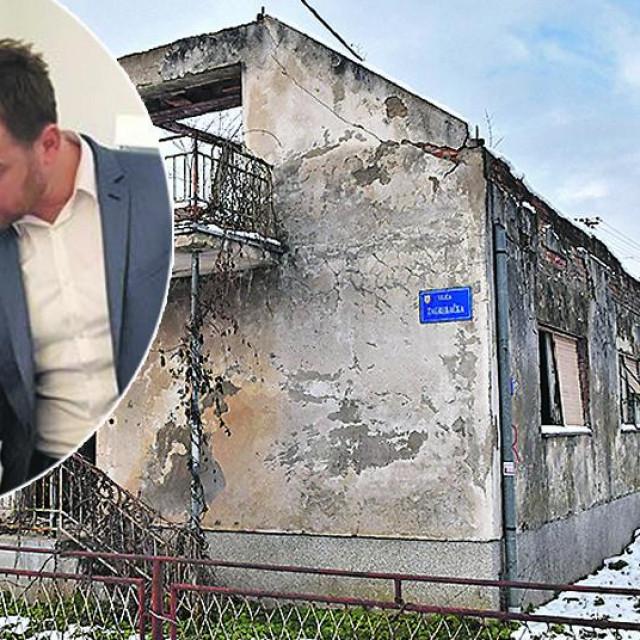 Kuća u Glini u Zagrebačkoj ulici kojoj je vlasnik sin Ive Žinića Dario Žinić. Stjepan Kostanjević i Dario Žinić (u krugu)