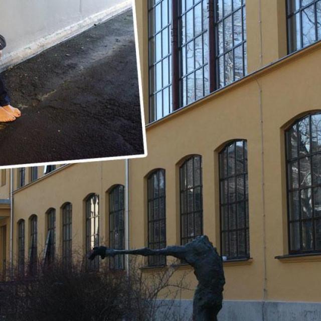 Žrtva zlostavljanja (gore lijevo, ilustrativna fotografija); zgrada Likovne akademije u Zagrebu (glavna fotografija, snimka nastala prije potresa koji je teško oštetio objekt)