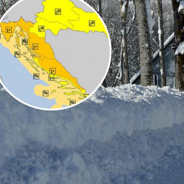 Prizor iz Begova Razdolja snimljen 13. siječnja (glavna fotografija), upozorenja Meteoalarma za nedjelju (u krugu)