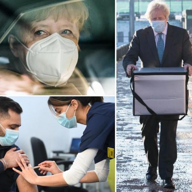 Lijevo: Angela Merkel i prizor cijepljenja u Britaniji; U sredini: Boris Johnson nosi kutiju s cjepivima AstraZenece; Desno: Doza cjepiva i Ursula von der Leyen