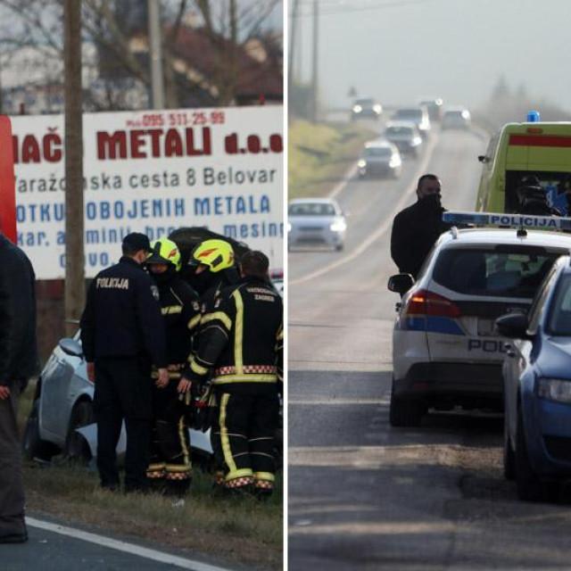 Prometne nesreće u Belovaru (lijevo) i Svetom Ivanu Zelini (desno)