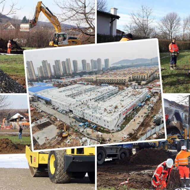 Radovi na kontejnerskom naselju u Petrinji i bolnica u Wuhanu koja je prošle godine bila sagrađena za 8 dana