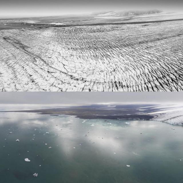 Fotografije pokazuju islandski Breiðamerkurjökull glečer 1989. i 2019.