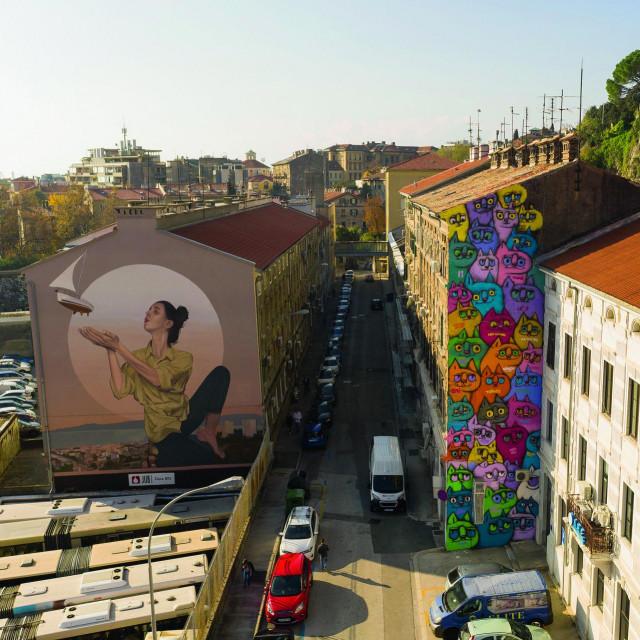 Mural Andreja Žikića Arteza (djevojka s brodićem) i Slavena Kosanovića Lunara (mačke)