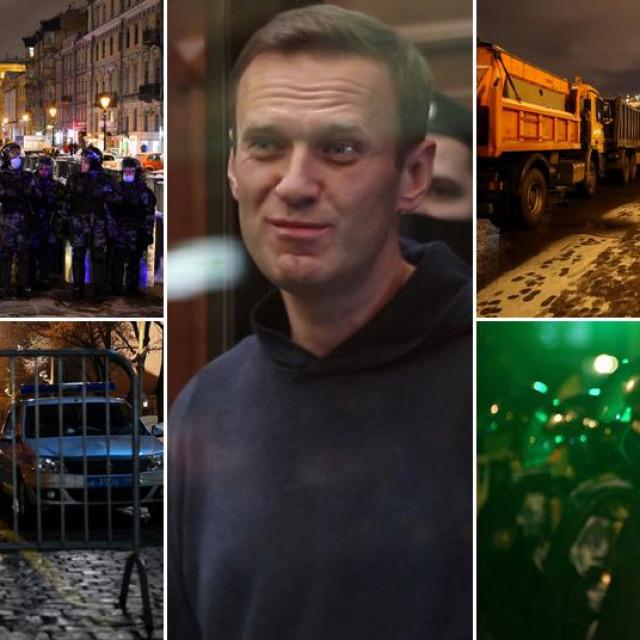 Prizori iz Moskve tijekom izricanja presude i Aleksej Navaljni u sredini