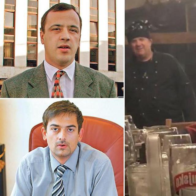 Miho Mratović (L-G); Silvio Čović (L-D); prizor sa snimke tuluma u konobi Pršut (S); Bruno Klein (D-G); Dinko Mešin (D-D)
