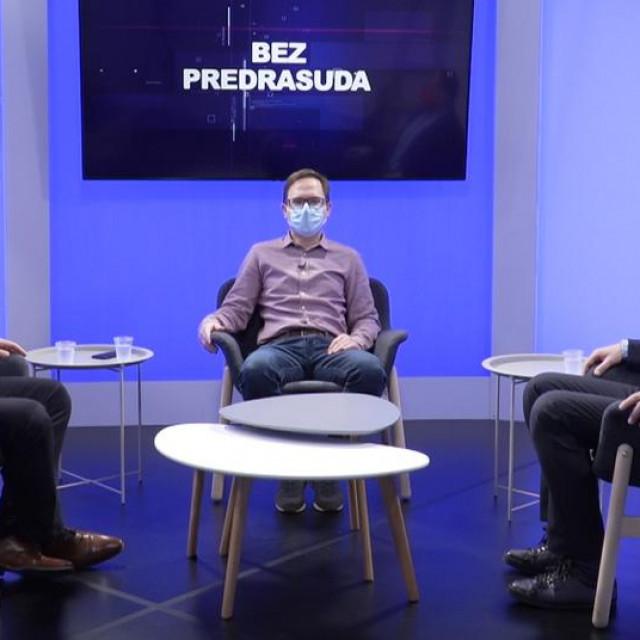 Branko Bačić i Siniša Hajdaš Dončić u emisiji Bez predrasuda