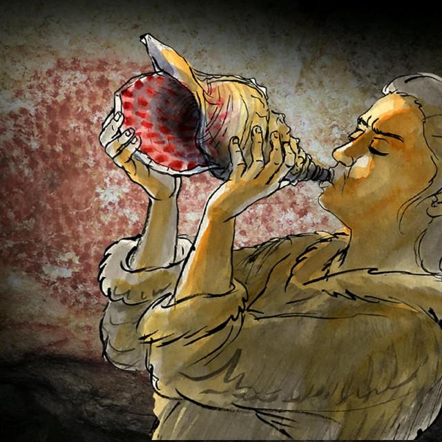 Ilustracija prapovijesnog svirača školjke