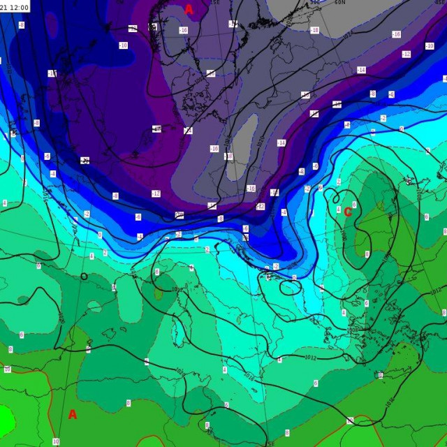ECMWF prognoza prizemnog tlaka zraka i temperature na 850 hPa za četvrtak, 11. 2. 2021. u 12 UTC