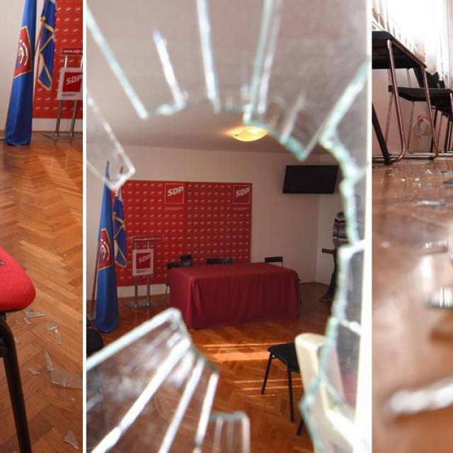 Razbijeni prozori na prostorijama SDP-a