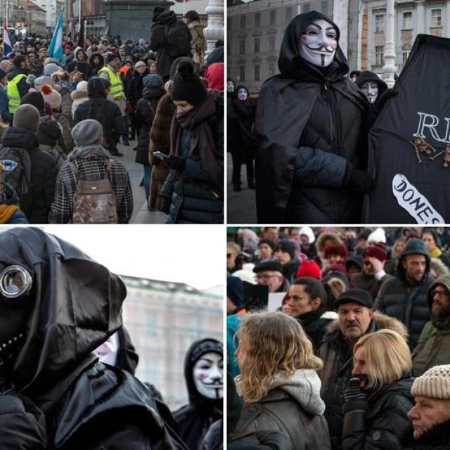 Prosvjed zbog mjera u Zagrebu