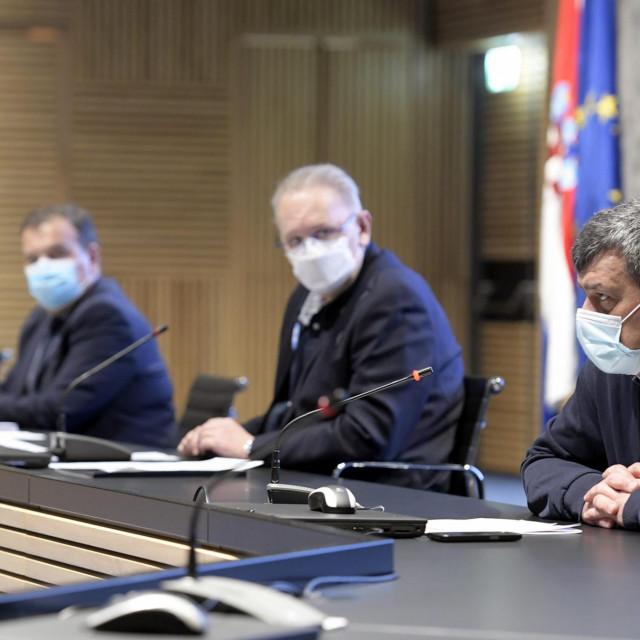 Konferencija za medije Stožera civilne zaštite Republike Hrvatske.<br /> Na fotografiji: Alemka Markotić, Vili Beroš, Davor Božinović, Bernard Kaić