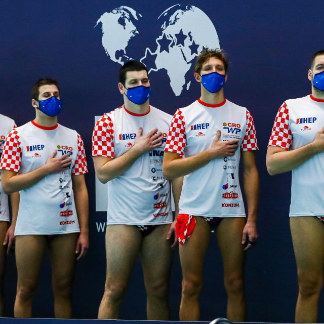 14-02-2021: Waterpolo: Croatia v Romania: Rotterdam ROTTERDAM, NETHERLANDS - FEBRUARY 14: Team Croatia during the Olympic Waterpolo Qualification Tournament 2021 match between Croatia and Romania at Zwemcentrum Rotterdam on February 14, 2021 in Rotterdam, Netherlands (Photo by Marcel ter Bals/Orange Pictures)