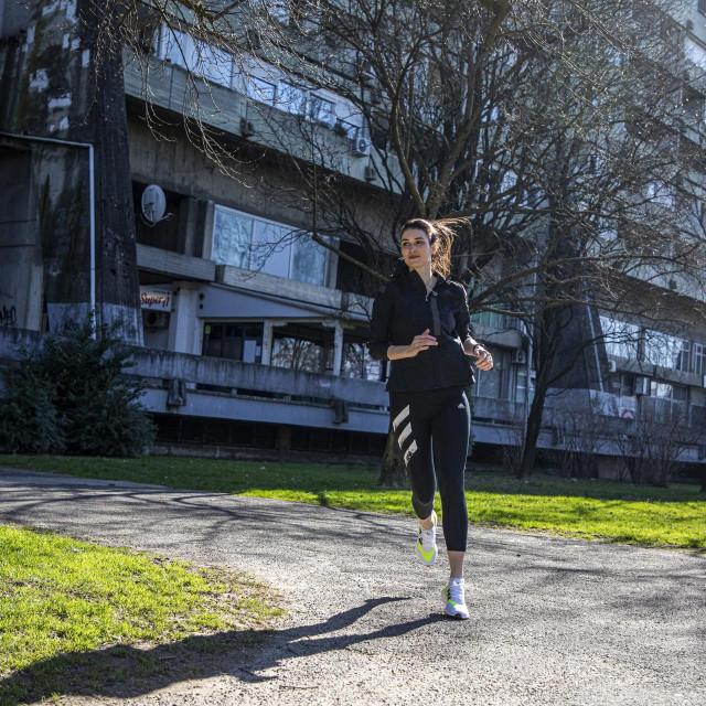 Zagreb, 220221.<br /> Infulencerica Anna Soldo isporabala je Adidas tenisice iz kampanje Adidas za SportVision. Snimljena je u Parku mladecana u Sigetu.<br />