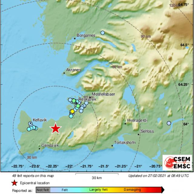 Potres magnitude 5.2 na Islandu