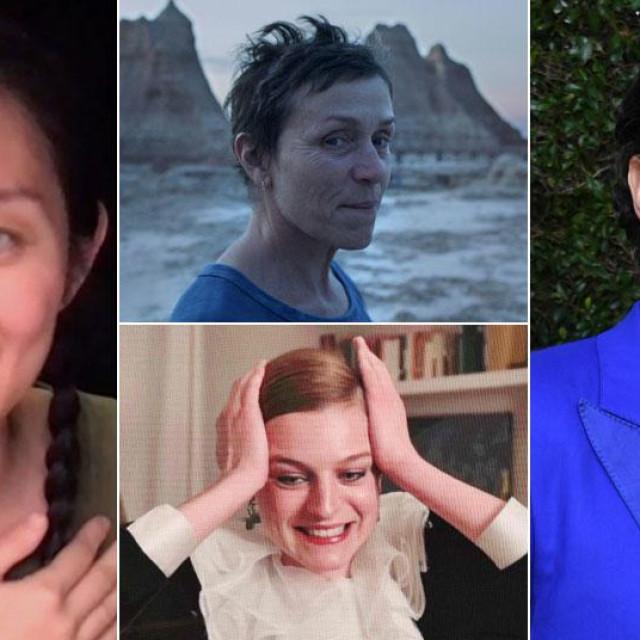 Chloe Zhao, Frances McDormand, Emma Corrin i Sascha Baron Cohen