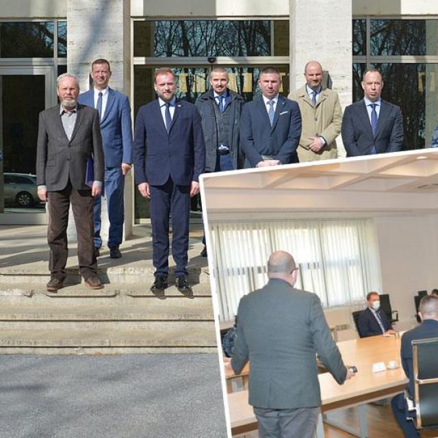 Ministar Banožić s predstavnicima hrvatskih tvrtki, FER-a i TVZ-a te u društvu počasnog konzula Ukrajine u RH Ivicom Pirićem ispred zgrade MORH-a (glavna fotografija); Ministar Banožić sa sugovornicima, uključujući prof. dr. sc. Krešimira Ćosića, na sastanku u MORH-u (dolje desno)