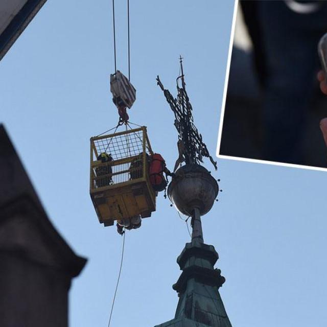 Uklanjanje križa u Karlovcu (glavna fotografija), pronađeni svitak (gore desno)