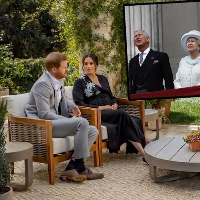 Princ Harry i Meghan Markle u društvu Oprah Winfrey (glavna fotografija), princ Charles, kraljica Elizabeta II i princ William (gore)