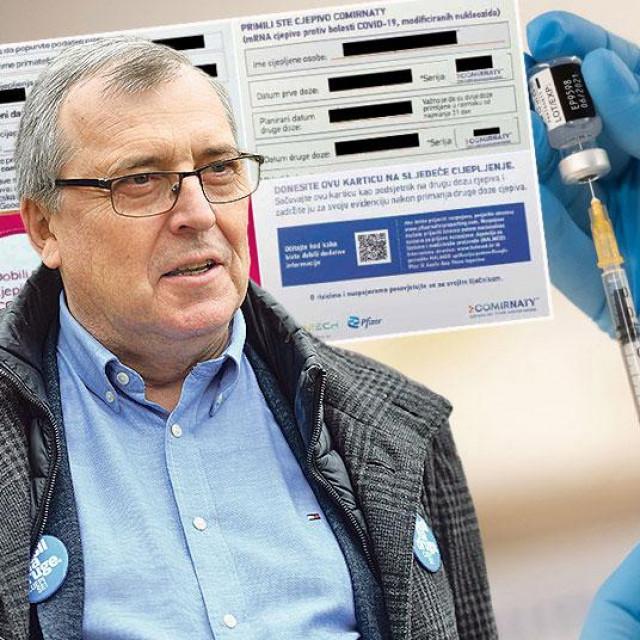 Potvrde koje dobivaju cijepljene osobe (gore lijevo), Krunoslav Capak (lijevo) i ilustracija cijepljenja (glavna fotografija)