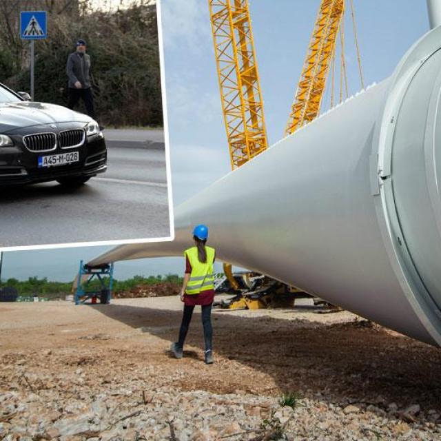 Gradilište vjetroelektrane Krš-Pađene (glavna fotografija); Bašić i Stipić BMW-om odlaze nakon izlaska iz Remetinca