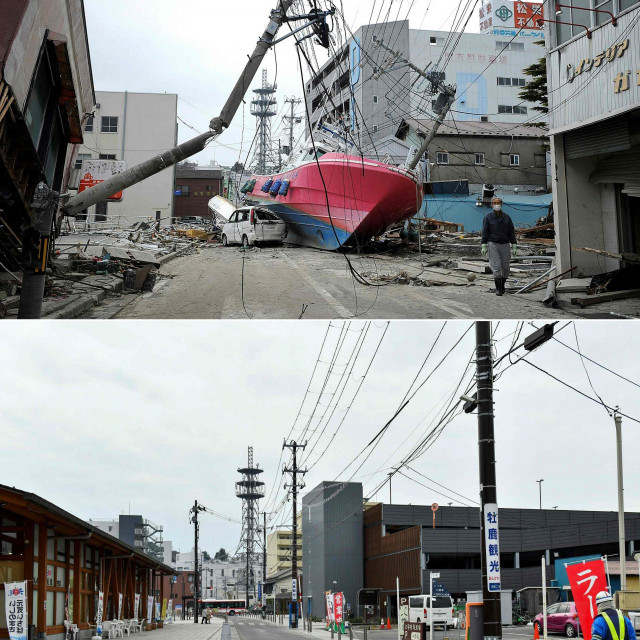 Ishinomaki prije 10 godina i danas