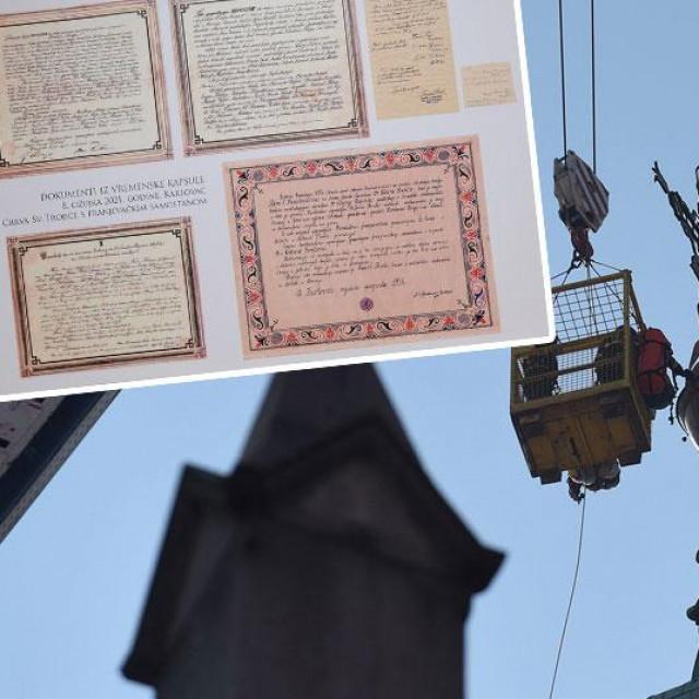 Uklanjanje križa u Karlovcu (glavna fotografija), pronađeni svici (gore lijevo i desno)
