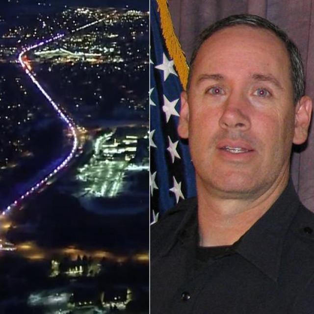 Policija i hitne službe povorkom pod svjetlima odale su počast ubijenom policajcu Ericu Talleyju (desno), prvom službeniku lokalne policije koja je intervenirala tijekom pucnjave u trgovini u Boulderu