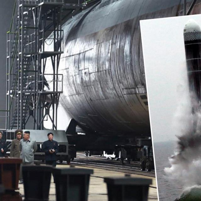 Kim Jong-un u inspekciji brodogradilišta u kojem se gradi nova podmornica i balistički projektil kojeg je Sjeverna Koreja ranije lansirala s druge podmornice