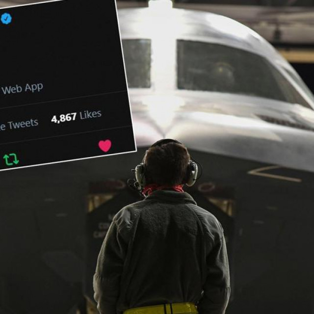Zbunjujući tweet na profilu Strateškog zapovjedništva SAD-a i američki bombarder B2, sposoban nositi nuklearno oružje