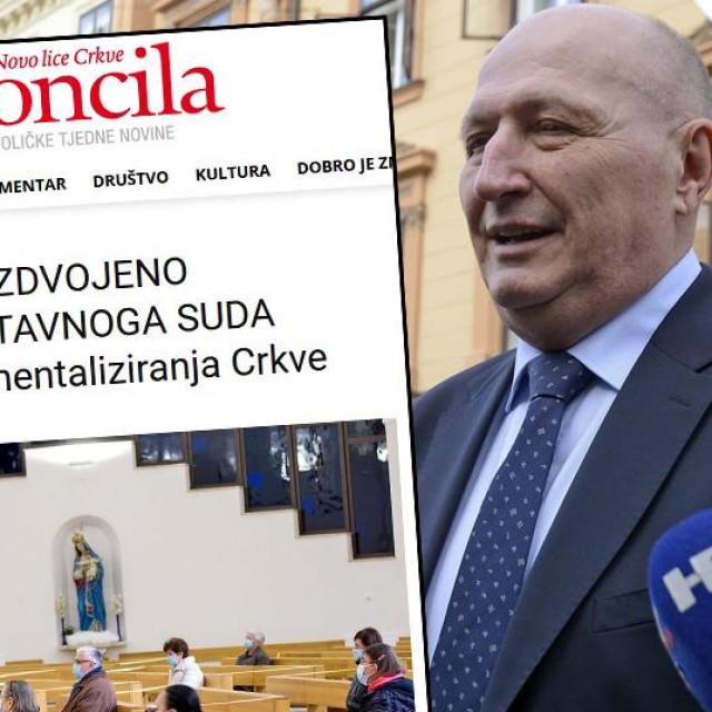 Zvonimir Šeparović i screenshot komentara glavnog urednika Glasa Koncila