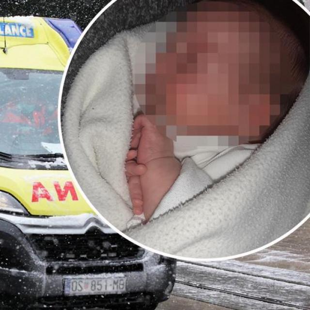 Vozilo Hitne pomoći i beba koja je preminula u domu za djecu