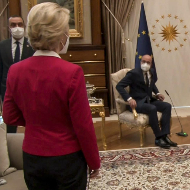 Recep Tayyip Erdogan, Charles Michel i Ursula von der Leyen