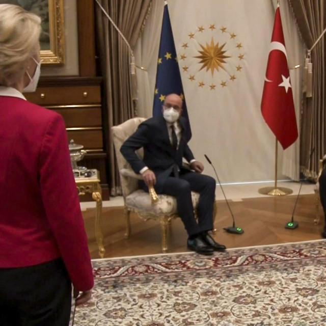 Ursula von der Leyen, Recep Tayyip Erdogan i Charles Michel