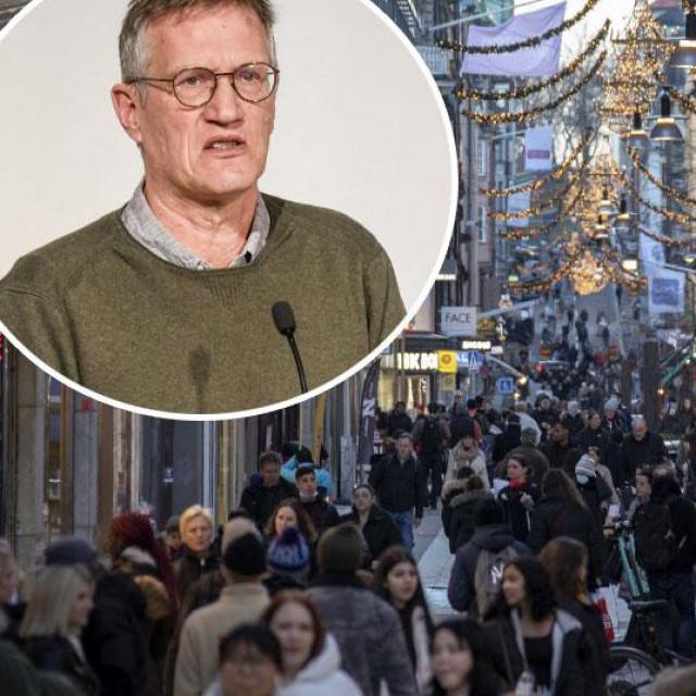 Anders Tegnell (u krugu), prizor iz Stockholma (glavna fotografija)