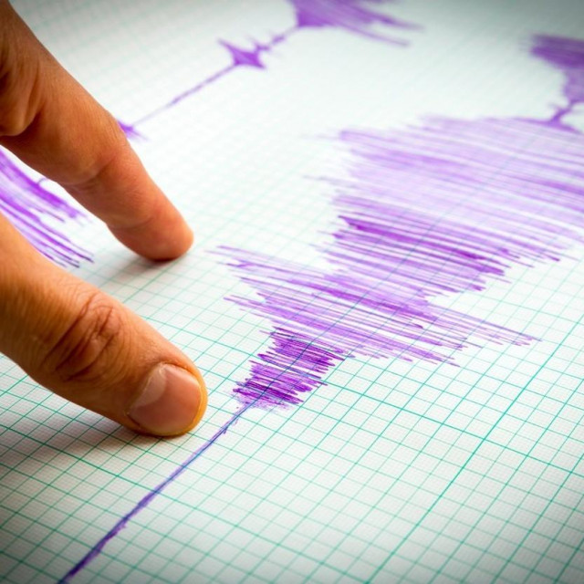 Seismological device for measuring earthquakes. Seismological activity lines on the sheet of measuring paper. Earthquake wave on graph paper. Vignette image. Human finger showing a detail.,Image: 299915021, License: Royalty-free, Restrictions:, Model Release: no, Credit line: Pluto/Alamy/Alamy/Profimedia